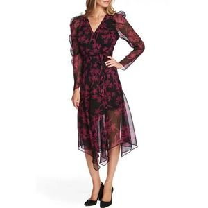 Vince Camuto Iris Chiffon Floral Black Wrap Dress